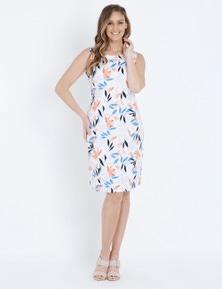 W.Lane Floral Print Linen Dress