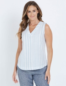 W.Lane Curved Hem Linen Top