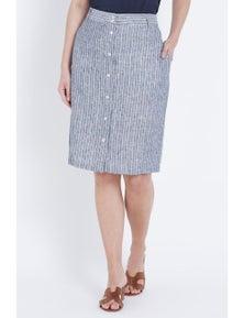 W.Lane Linen Stripe Button Skirt