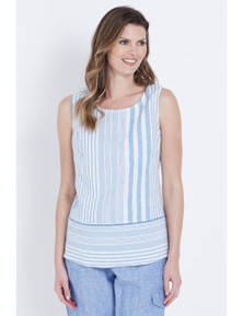 W.Lane Stripe Linen Trim Top