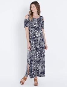 W.Lane Cold Shoulder Print Maxi Dress