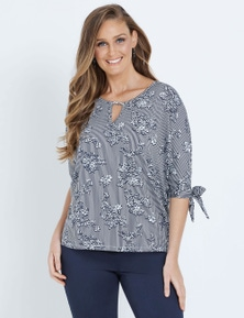 W.Lane Stripe Floral Top
