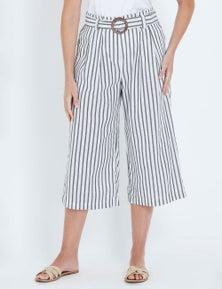 W.Lane Stripe Crop Culotte Buckle Pant