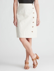 W.Lane Side Button Stripe Linen Skirt