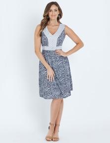 W.Lane Contrast Burnout Printed Dress