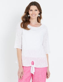 W.Lane Embroidered Tie Front Blouse