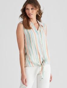 W.Lane Stripe Tie Front Shirt