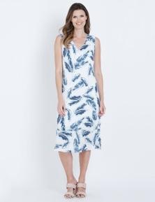 W.Lane Fern Print Frill Hem Dress