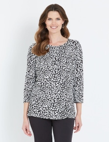 W.Lane Animal Print Tuck Detail Top