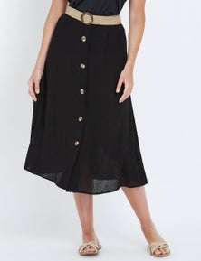 W.Lane Button Belted Skirt