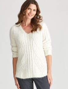 W.Lane Fluffy Cable Pullover