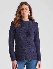 W.Lane Zig Zag Textured Split Neck Pullover