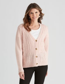 W.Lane Fluffy Cable Cardigan