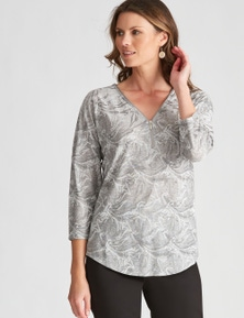 W.Lane Zip Detail Textured Leaf Knit Top
