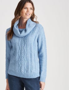 W.Lane Cable Cowl Neck Zip Pullover