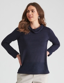 W.Lane Cowl Neck Rib Detail Pullover