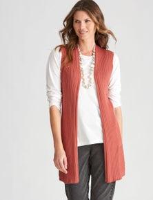 W.Lane Knit Sleeveless Rib Cardigan