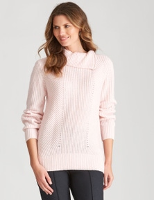W.Lane Split Zip Cowl Neck Pullover