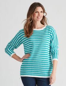 W.Lane Stripe Textured Pullover
