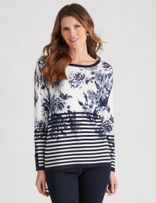 W.Lane Floral Stripe Printed Pullover