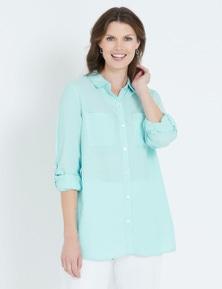 Maggie T 3/4 Sleeve Linen Blend Shirt