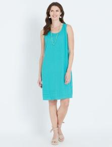 Maggie T Ruffle Hem Linen Dress