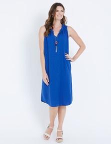 Maggie T Linen Notch Neck Dress