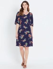 W.Lane Flutter Sleeve Floral Dress