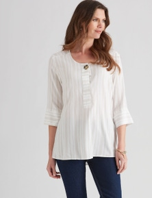 W.Lane Stripe Button Top