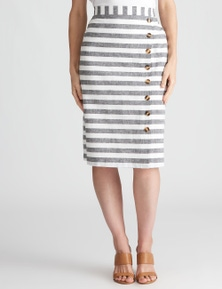 W.Lane Stripe Button Skirt