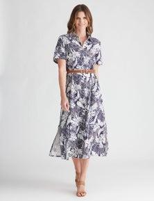 W.Lane Tropical Print Belted Shirt Dress