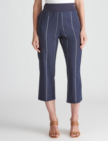 W.Lane Rib Linen Stripe Crop Pant