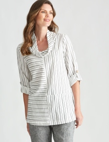 W.Lane Stripe Cowl Neck Blouse