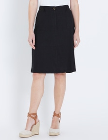 W.Lane Linen A-Line Pocket Skirt