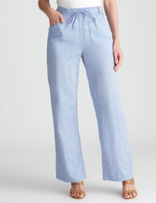 W.Lane Wide Leg Full Length Linen Pant
