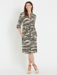 W.Lane Animal Print Shirt Dress