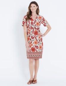 W.Lane Floral Border Print Dress