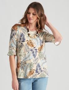W.Lane Jungle Print Frill Sleeve Top
