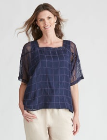 W.Lane Sheer Square Neck Overlay Top