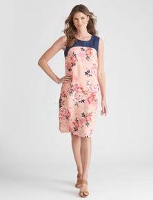 W.Lane Oriental Contrast Print Dress