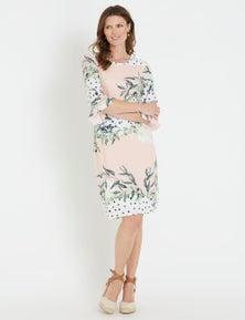 W.Lane Spot Floral Flutter Sleeve Dress