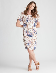 W.Lane Floral Chain Print Linen Dress