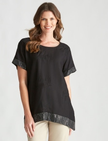 W.Lane Fern Embroidered Sequin Top