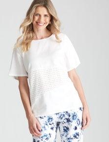 W.Lane Lace Linen Top