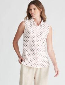 W.Lane Spot Sleeveless Linen Shirt