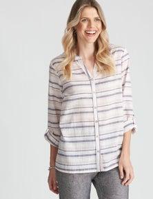 W.Lane Multi Stripe Button Through Shirt