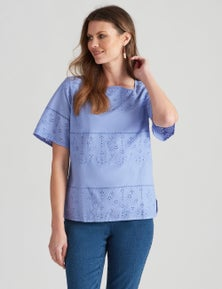 W.Lane Flute Sleeve Embroidered Top