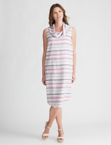 W.Lane Linen Stripe Cowl Dress