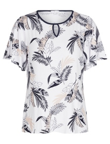 W.Lane Floral Flutter Sleeve Top
