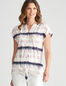 W.Lane Abstract Tie Front Blouse